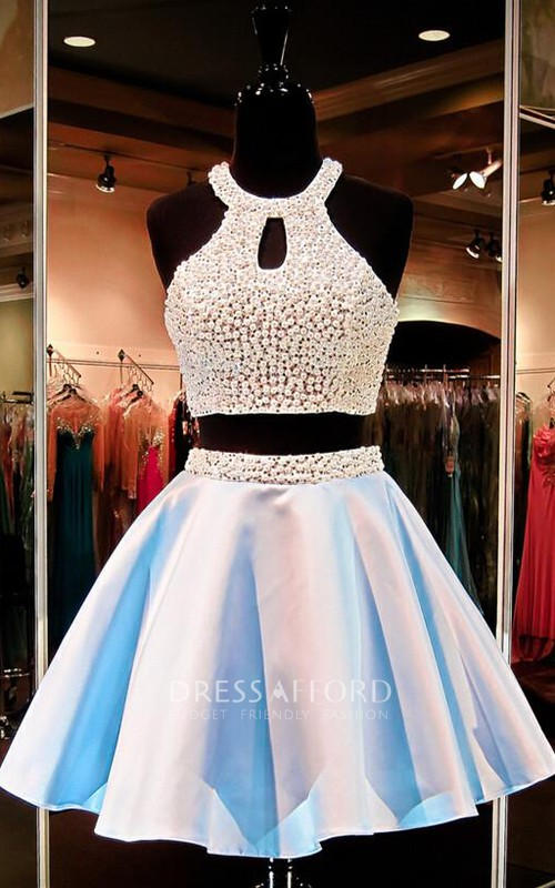 Short Rhinestoned Sleeveless Halter Sassy Gown