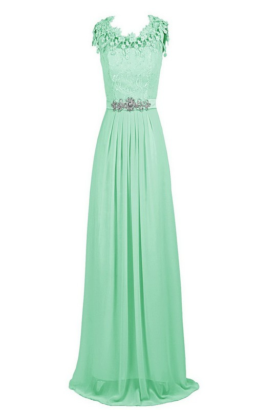 Lace Appliqued Bodice Crystal-Beaded Scalloped Gown