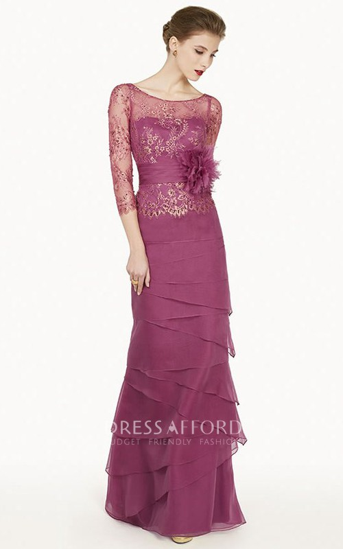 Floral Embroidery Prom Long-Sleeve Column Chiffon Dress