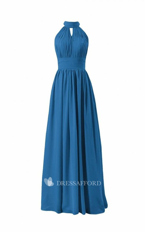 Long Chiffon High-Neckline Sleeveless Pleated Dress