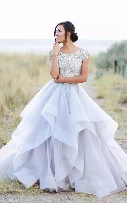 Adorable Country Style Organza Scoop-neck Ruffled Cap-sleeve Ball Gown Wedding Dress with Lace