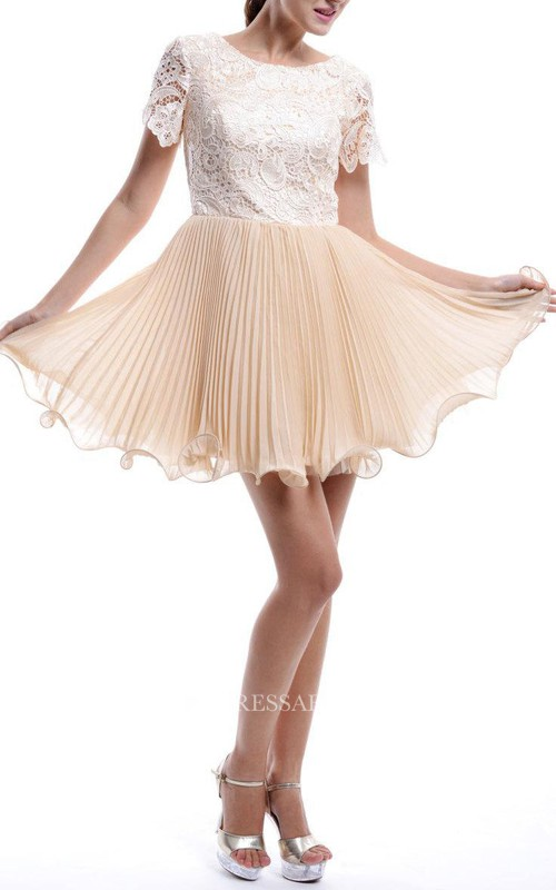 Scoop-neck Short Sleeve A-line Lace Dress With Pleated skirt