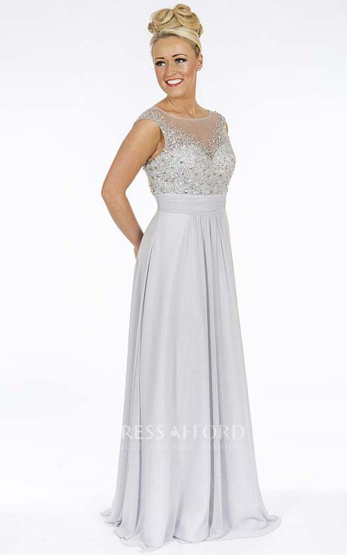 Scoop-neck Cap-sleeve Tulle Dress With Illusion And Crystal Detailing