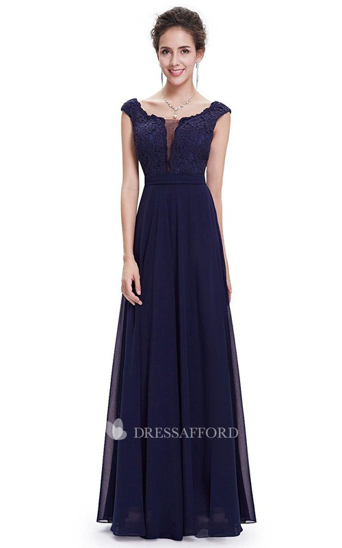 Cap-sleeved Scoop-neck A-line Long Chiffon Dress