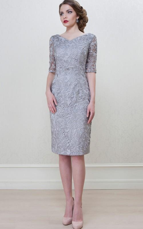 Pencil V-neck Half Sleeve Lace Dress With Split Back