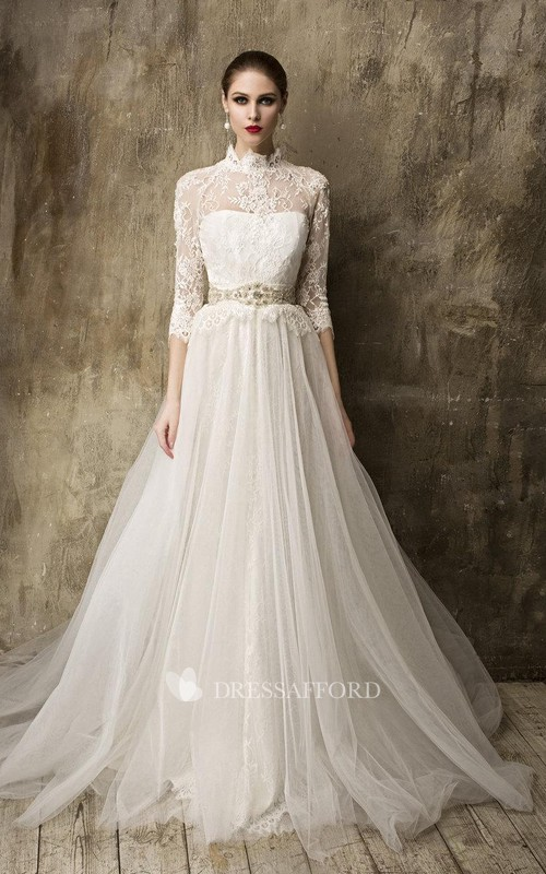 Tulle Detachable Tulle Skirt 3-4-Sleeve High-Neckline Gown