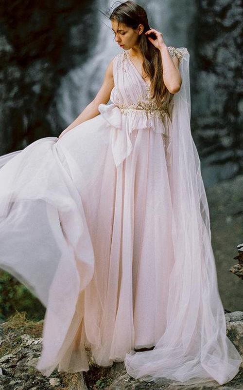 Bohemian Champagne Wedding Dress