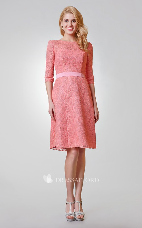 A-Line Lace Bateau-Neck Chic Knee-Length Dress