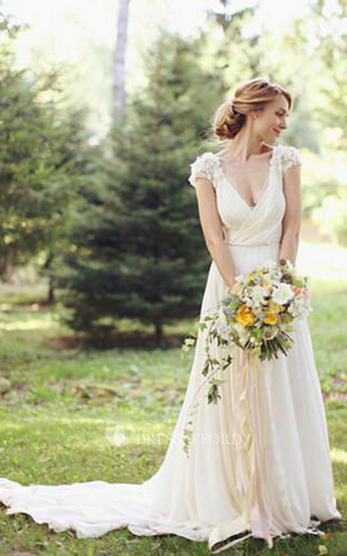 Chiffon Brush Train Bridal V-Neckline Modern Floral Dress
