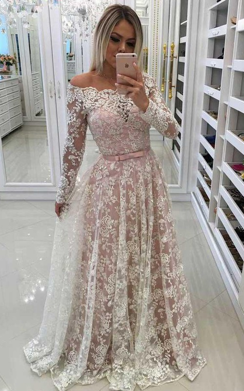 Off-the-shoulder Lace Long Sleeve Floor-length Beading Pleats Dress