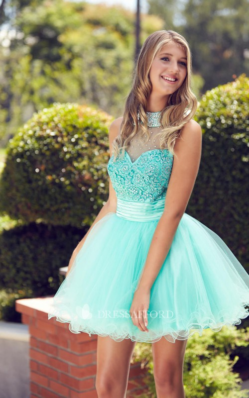 A-Line Ruffled Jeweled Mini High-Neck Tulle Sleeveless Illusion Dress