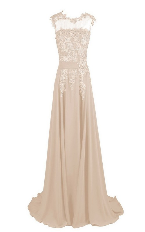 Floor-Length Floral Embroidery Detail Long High-Neckline Gown