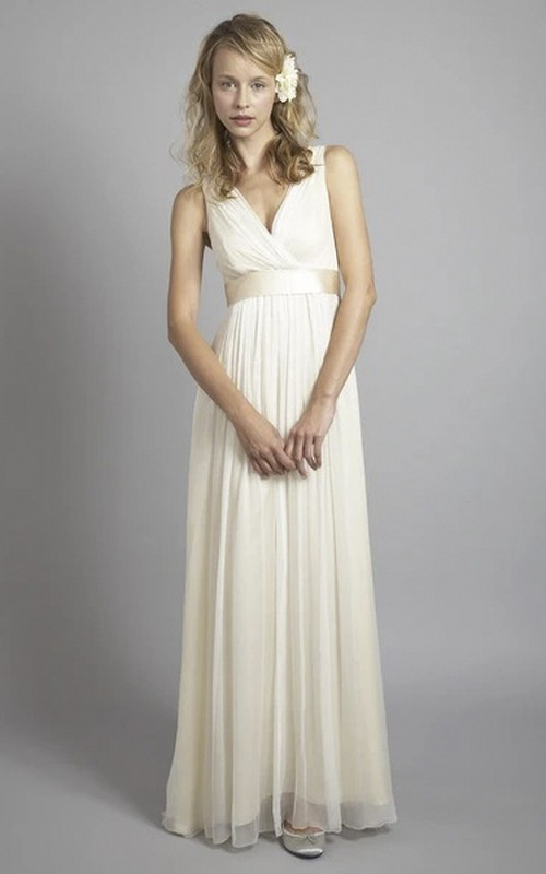 Chiffon Sleeveless Plunging Criss Cross Empire Wedding Gown With Low V-back