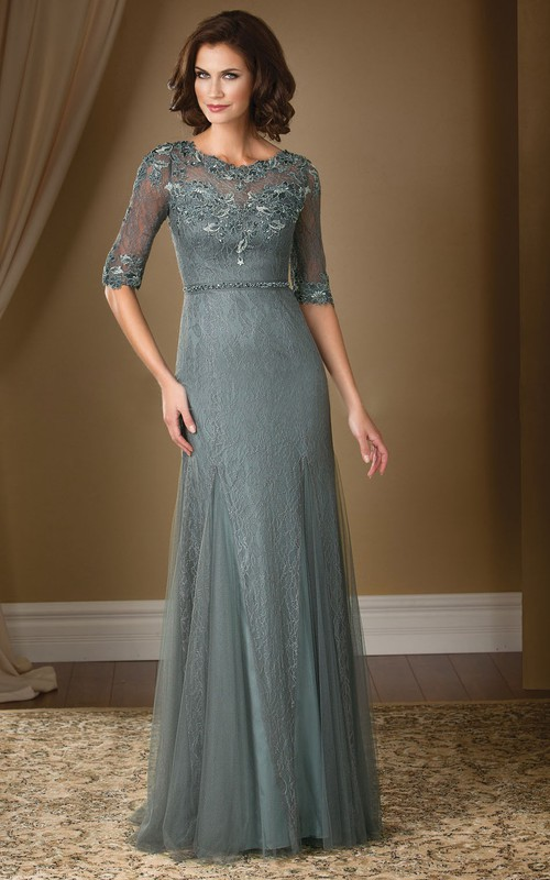 Scoop-neck Half Sleeve Tulle Lace Sheath Mother of the Bride Dress With Appliques