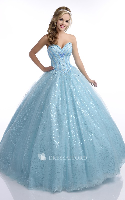 Floor-Length Back Corset Sweetheart Strapless Crystal Sequined Lace-Up Ball Gown