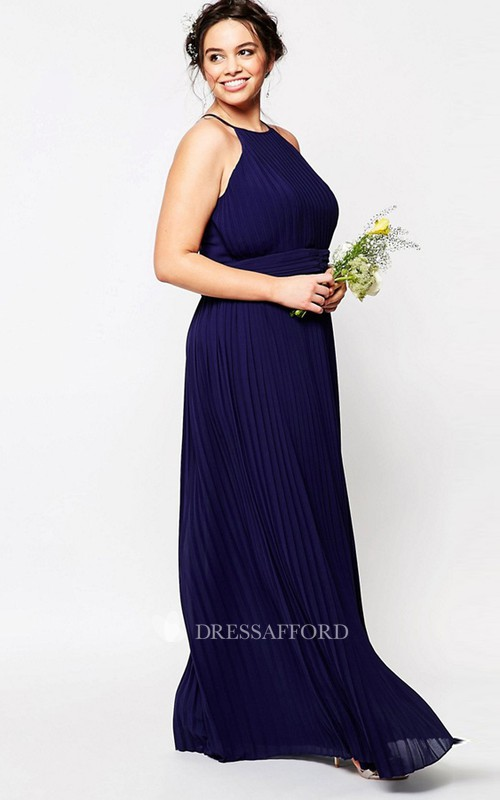 Sheath High Neck Pleated Sleeveless Chiffon Bridesmaid Dress