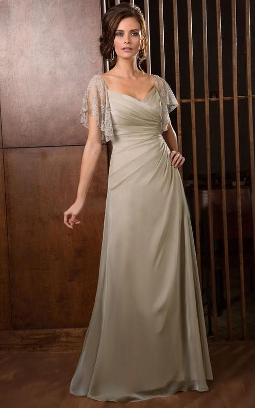 A-Line Rucheds Jewels V-Neckline Short-Sleeved Gown