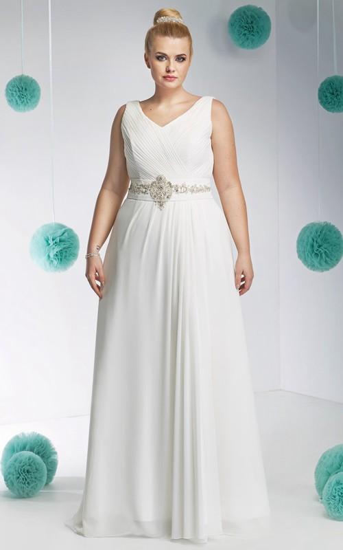 Chiffon V-neck Sleeveless Ruched plus size wedding dress With Embellished Waist