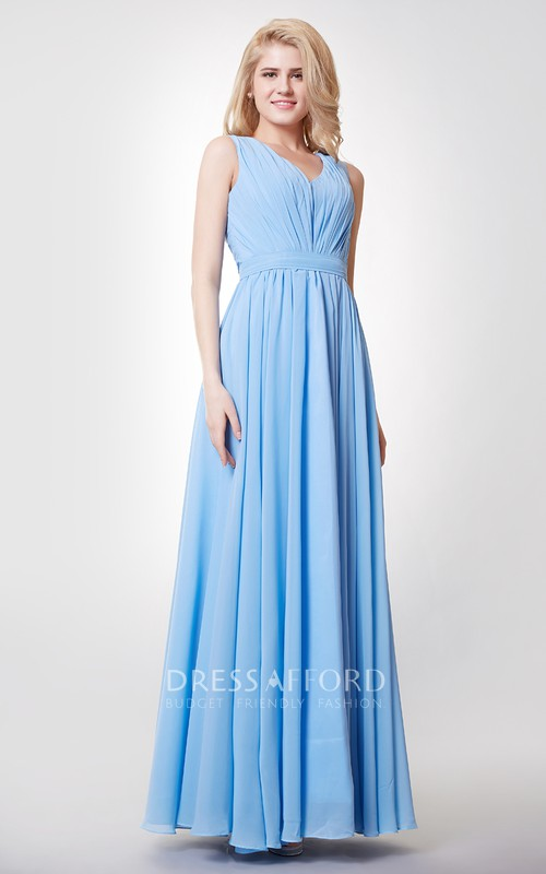 Floor-Length Keyhole Back A-Line V-Neckline Bridesmaid Dress