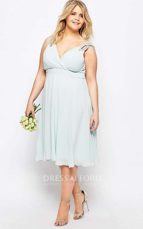 A-Line V-Neck Ruched Sleeveless Knee-Length Chiffon Bridesmaid Dress With Beading And Pleats