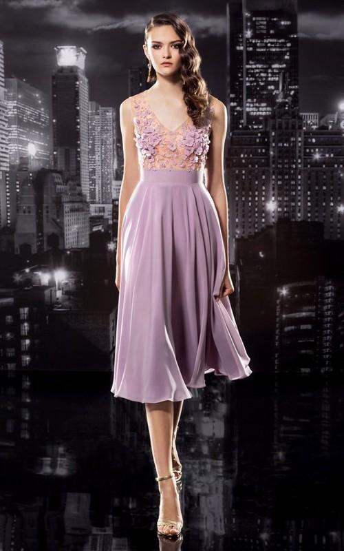 A-Line Tea-Length V-Neck Sleeveless Jersey Keyhole Dress With Appliques