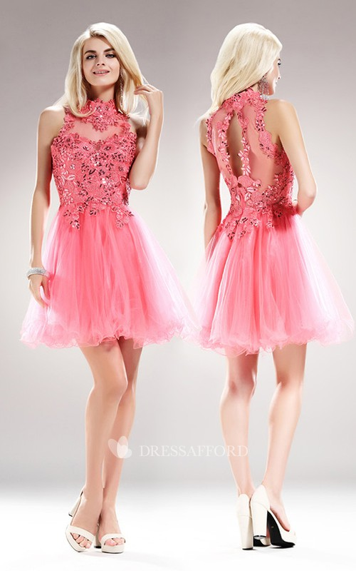 A-Line Sequined Appliqued Mini High-Neck Tulle Sleeveless Illusion Dress