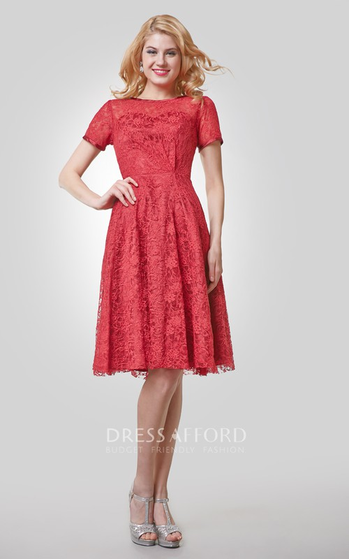 Lace Bateau Neckline Knee-Length Short-Sleeve A-Line Dress