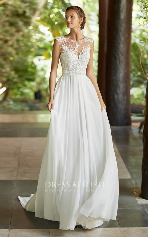 Ethereal Cap Sleeve Lace Chiffon Wedding Dress With Deep V-back And Court Train