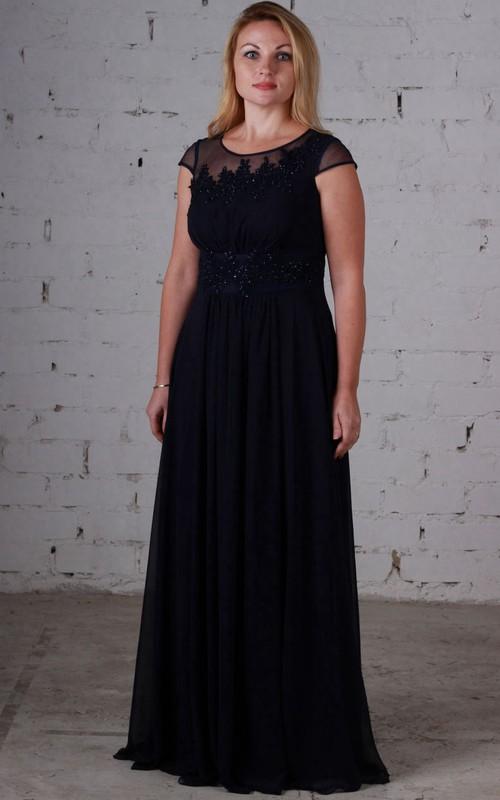 Short-Sleeve Beaded Bateau-Neck Empire Chiffon Dress