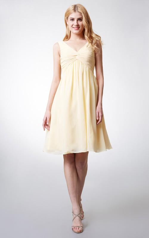 Chiffon Pleated Empire V-Neck Short-Midi Dress
