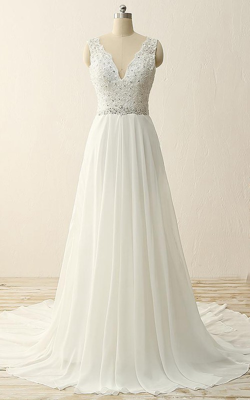 dipped-v-neck Sleeveless A-line Beaded Chiffon Wedding Dress With Appliques