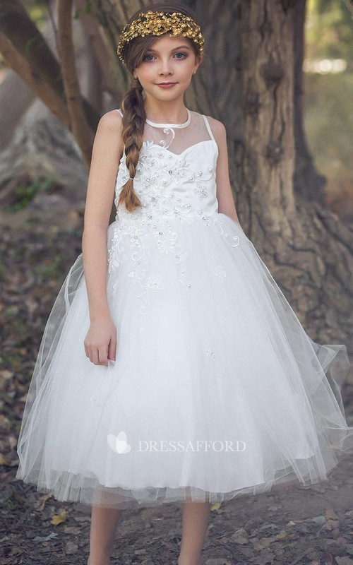 Jeweled Satin Layered 3-4-Length Tulle Flower Girl Dress