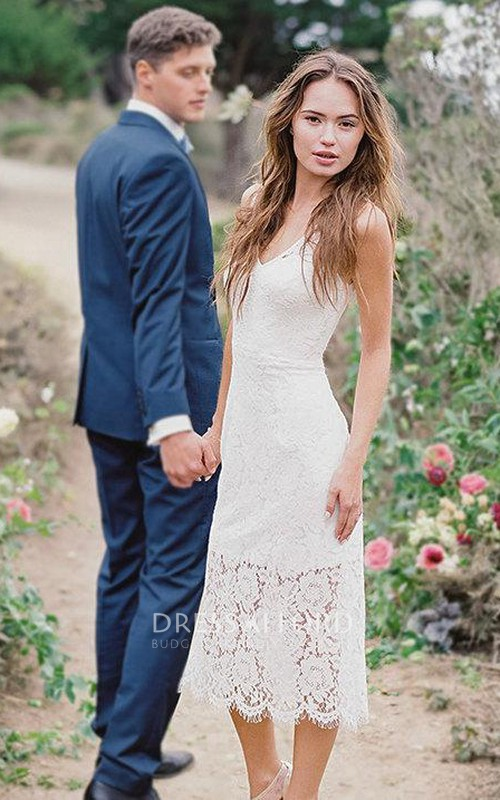 casual Spaghetti-strap Tea-length Lace Wedding Dress With Low-V Back