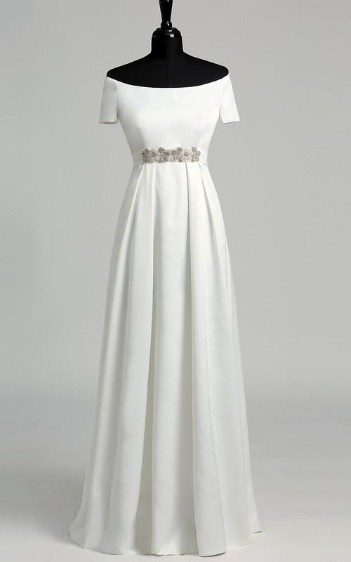 Off-the-shoulder Short Sleeve Empire Beading Pleats Wedding Dress