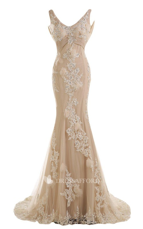 Mermaid V-neck Tulle Appliqued Dress With Deep-V Back And Sweep Train