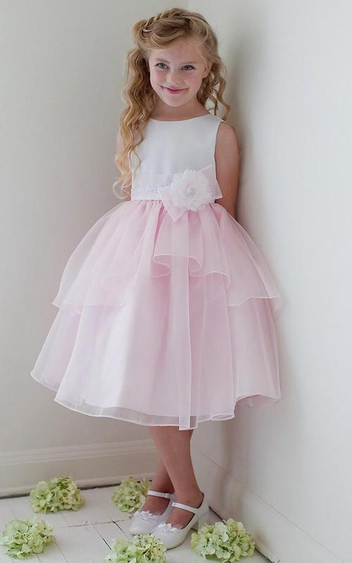 Bowknot Layers Tea-Length Floral Organza Flower Girl Dress