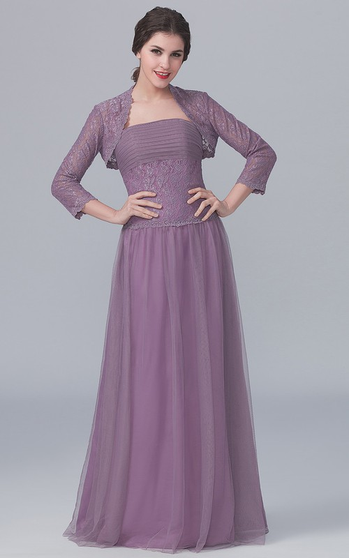 Long-Sleeved Lace Jacket A-Line Strapless Gown