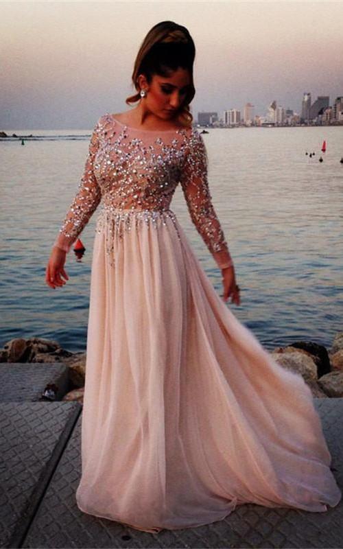 Jewels Long Chiffon Long-Sleeve Glamorous Prom Dress