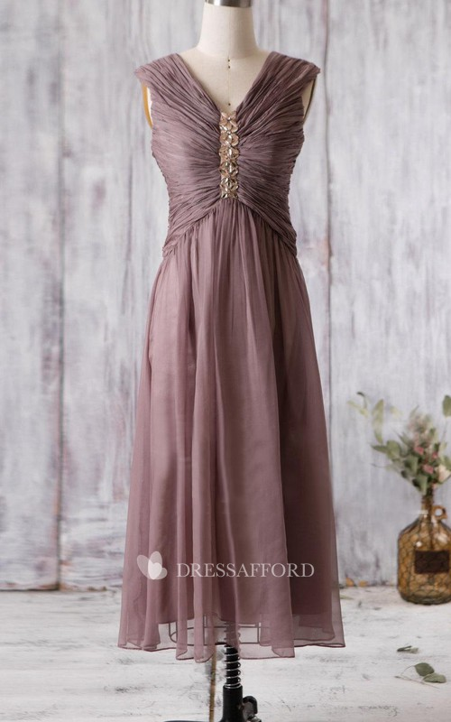 V-neck Sleeveless Ruched Tea-length Bridesmaid Dress With Ruching And Beading