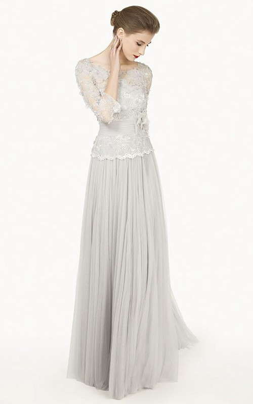 Bateau Long Sleeve Appliqued Dress With Flower And Pleated skirt