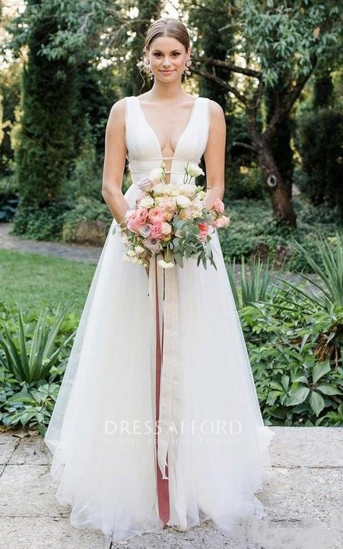 Plunging Neckline Tulle Sleeveless Brush Train Deep-V Back Wedding Dress