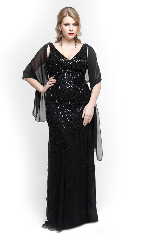 Column Chiffon Cape Floor-Length Strapped V-Neckline Beaded Dress