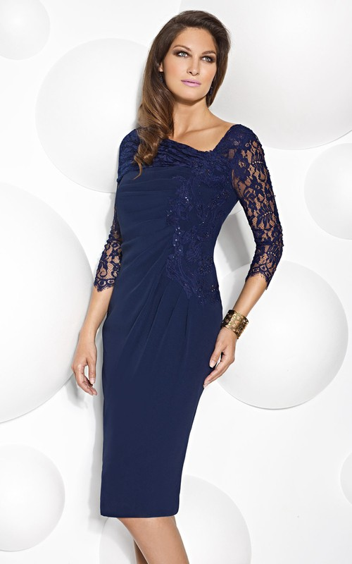 Lace 3-4-sleeve Pencil Knee-length Dress With Ruching And Appliques