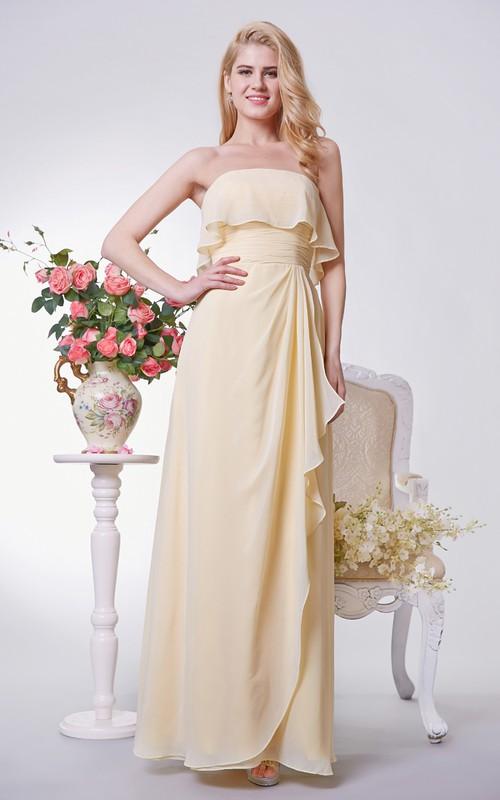 Strapless Chiffon Empire Bridesmaid Dress  side Draping