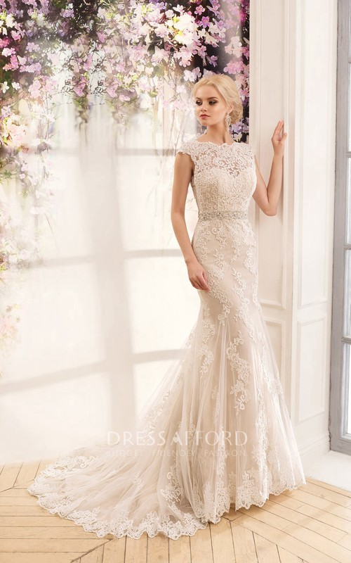 Cap-Sleeve Appliqued Waist Jewellery Long Trumpet Lace Dress