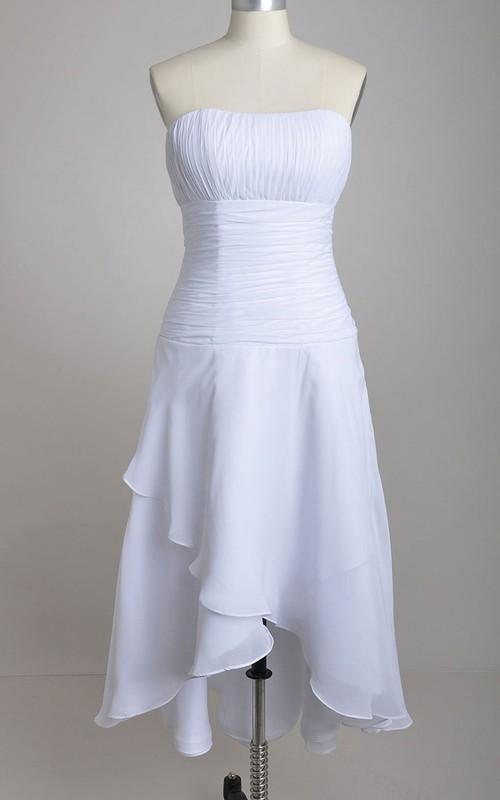 Chiffon Asymmetrical Front High-Low Strapless Dress