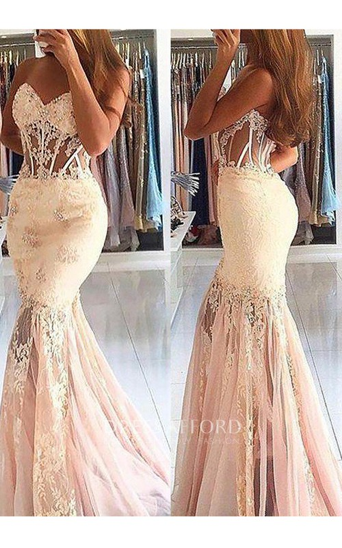 Sweetheart Lace Tulle Sleeveless Sweep Brush Train Appliques Beading  Dress