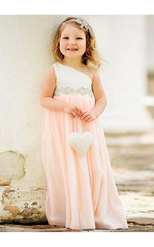 Chiffon Pearls One-Shoulder Delicate Flower Girl Dress