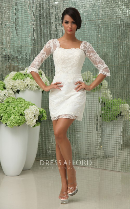 3/4 Sleeve Lace Overlay Vintage Romantic Dress