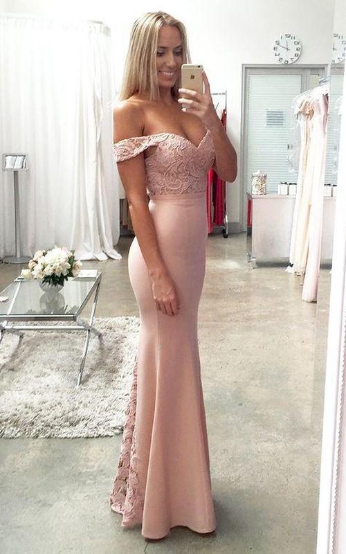 Off-the-shoulder Satin Lace Short Sleeve Floor-length Pleats Ruffles Dress